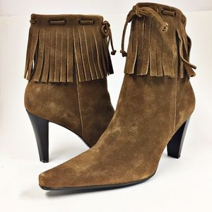 Nine West Maple Leaf Fringed Ankle Boots Suede 9.5